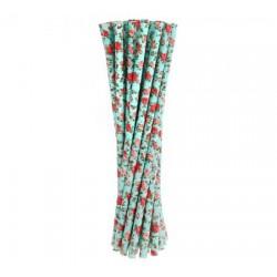 Slamky papierové modré ruže, 6x197mm, 24ks