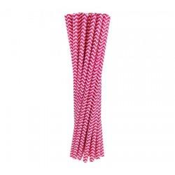 Slamky papierové ružové vlnky, 6x197mm, 24ks