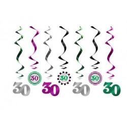 Špirálová dekorácia 30. narodeniny, 60cm, 7ks