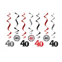 Špirálová dekorácia 40. narodeniny, 60cm, 7ks