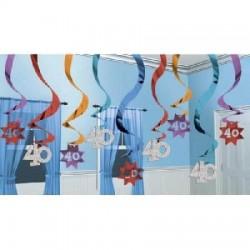 Špirálová dekorácia 40. narodeniny, 61cm, 15ks