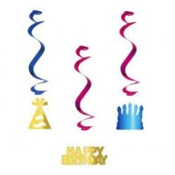 Špirálová dekorácia Happy Birthday, 3ks