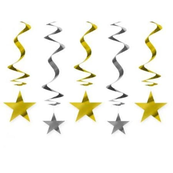 Špirálová dekorácia Hviezdy, 60cm, 5ks