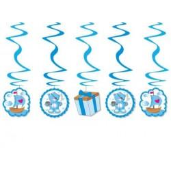Špirálová dekorácia MACKO modrá, 60x14cm, 5ks