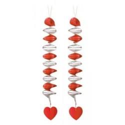 Špirálová dekorácia Srdce, 60cm, 2ks