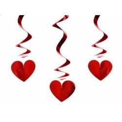 Špirálová dekorácia Srdce, 60cm, 3ks