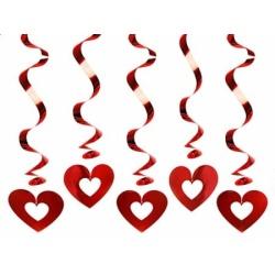 Špirálová dekorácia Srdce, 60cm, 5ks
