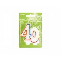 Sviečka na tortu číslo 40 s brokátom, 8cm