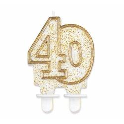 Sviečka na tortu číslo 40 zlatá s brokátom, 8cm