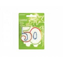 Sviečka na tortu číslo 50 s brokátom, 8cm