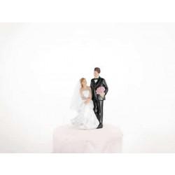 Tortová svadobná figúrka, pár sediaca nevesta, 11cm