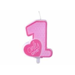 Tortová sviečka 1. narodeniny ružová, ONLY ONE, 8cm