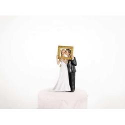 Tortové svadobné figúrky, pár v zlatom ráme, 14.5cm