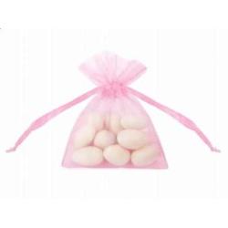 Vrecká z organzy ružové s mašľou, 7.5x10cm, 20ks