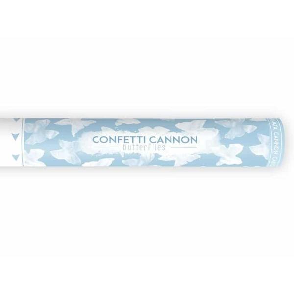 Vystreľovacie konfety biele papierové motýliky, 40cm
