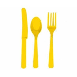 Žltý plastový príbor, sada 24ks