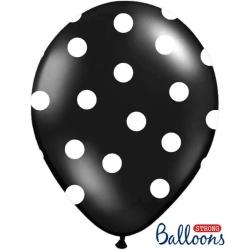 Balón čierny s bielymi bodkami, 30cm, 1ks