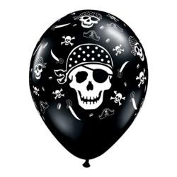 Balón lebka Pirát, čierny, 28cm, 1ks