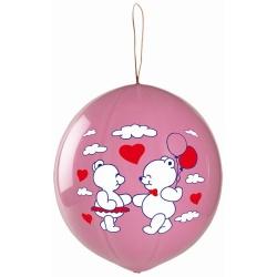Balón macko so srdiečkami s gumičkou, ružový, 1ks