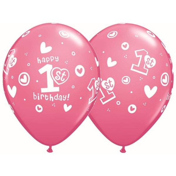 Balón s potlačou číslo 1 Happy Birthday ružový, 30cm, 1ks
