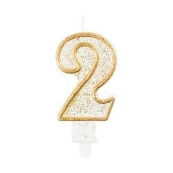 Číslová sviečka 2 zlatá s brokátom, 8 cm