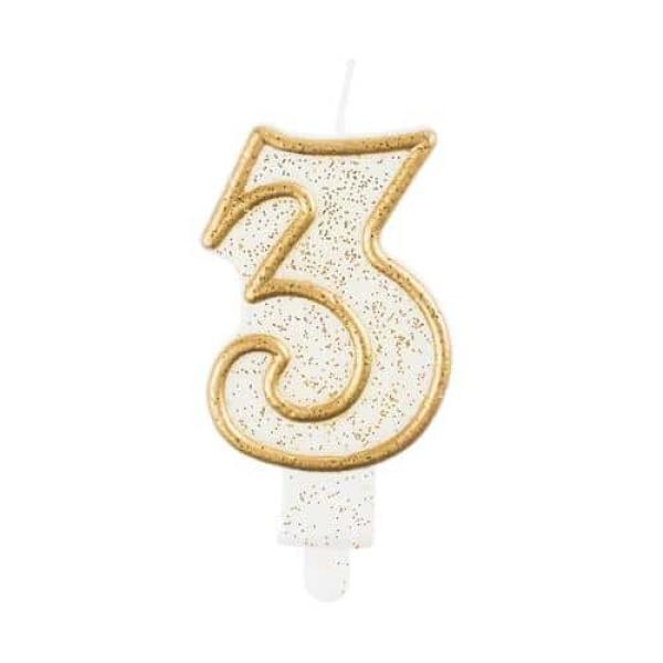 Číslová sviečka 3 zlatá s brokátom, 8 cm
