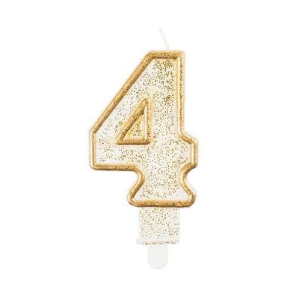 Číslová sviečka 4 zlatá s brokátom, 8 cm