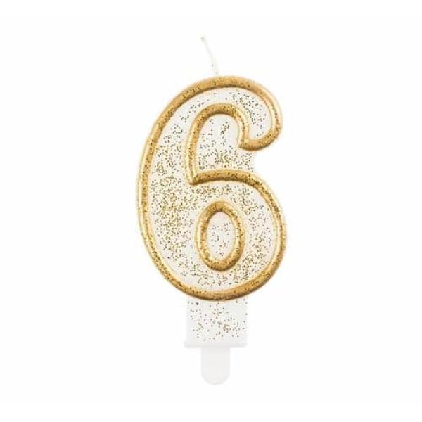 Číslová sviečka 6 zlatá s brokátom, 8 cm