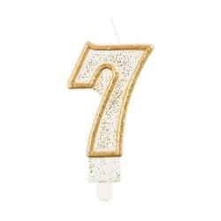 Číslová sviečka 7 zlatá s brokátom, 8 cm