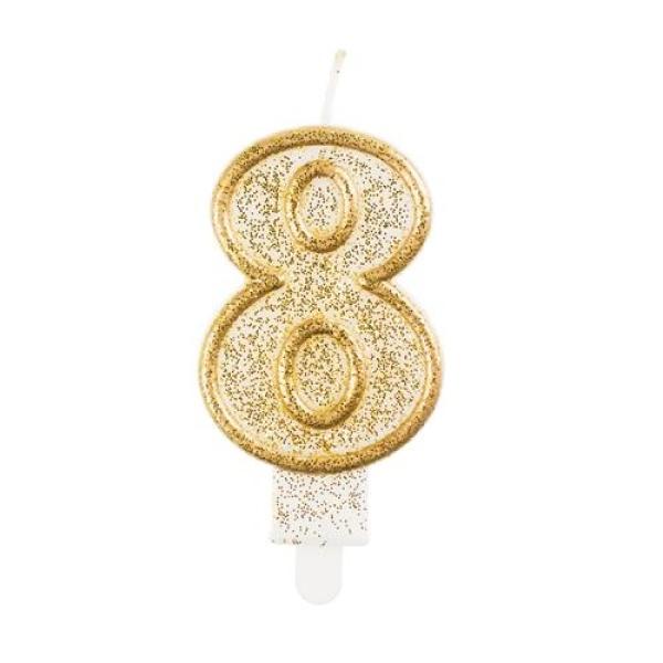 Číslová sviečka 8 zlatá s brokátom, 8 cm