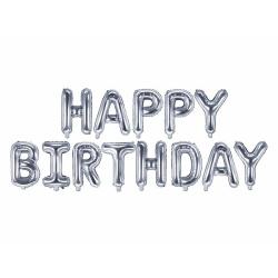 Fóliové balóny nápis Happy Birthday, strieborný, 340x35cm