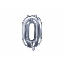Fóliový balón číslo 0, strieborný, 35cm
