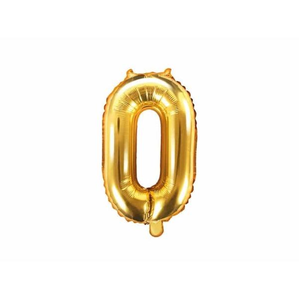 Fóliový balón číslo 0, zlatý, 35cm