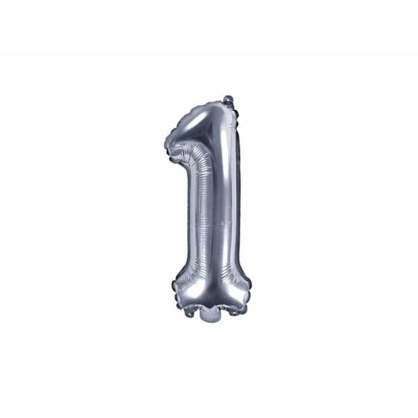 Fóliový balón číslo 1, strieborný, 35cm