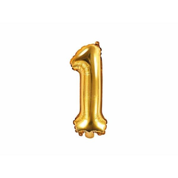 Fóliový balón číslo 1, zlatý, 35cm