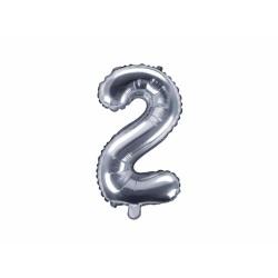 Fóliový balón číslo 2, strieborný, 35cm