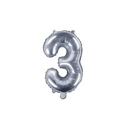 Fóliový balón číslo 3, strieborný, 35cm