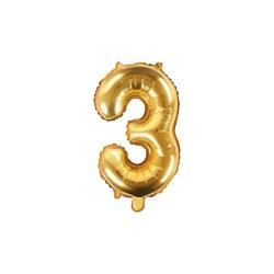 Fóliový balón číslo 3, zlatý, 35cm