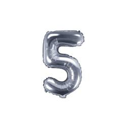 Fóliový balón číslo 5, strieborný, 35cm