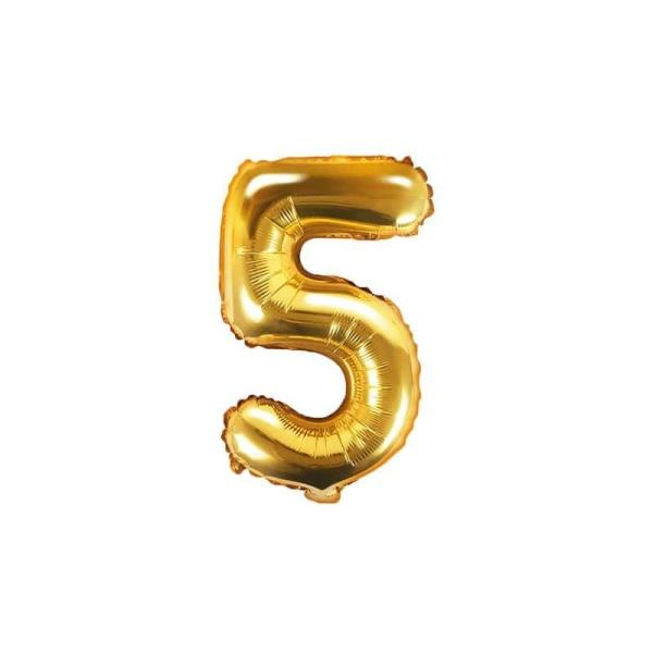 Fóliový balón číslo 5, zlatý, 35cm