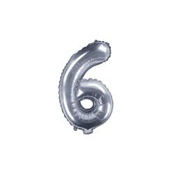 Fóliový balón číslo 6, strieborný, 35cm