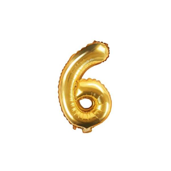 Fóliový balón číslo 6, zlatý, 35cm