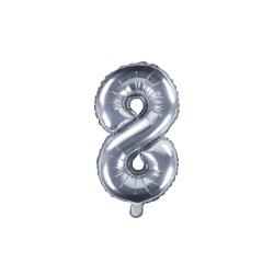 Fóliový balón číslo 8, strieborný, 35cm