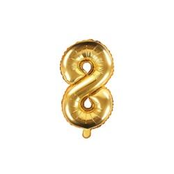 Fóliový balón číslo 8, zlatý, 35cm
