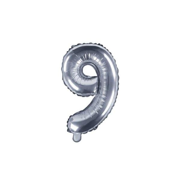 Fóliový balón číslo 9, strieborný, 35cm