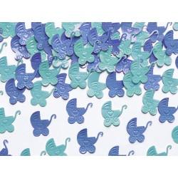Konfety fóliové kočíky, modré, 15g
