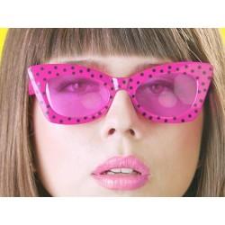 Okuliare na párty, ružové - čierne bodky
