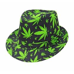 Párty klobúk čierny so zelenými listami