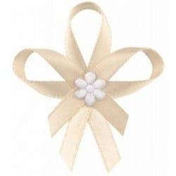 Svadobné pierka s kvetinkou, krémové, 25ks