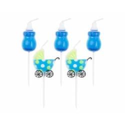 Sviečky Blue Baby, bodec, 5ks